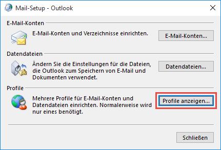 Outlook 2016 Profile anzeigen