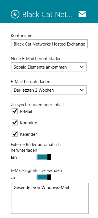 Win 8 Konto Optionen