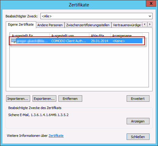 Outlook Zertifikat im Spiecher
