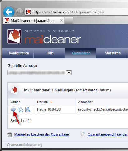 Mailcleaner Quarantäne