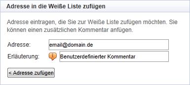 Mailcleaner Eintrag einzelner Adressen