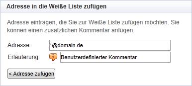 Mailcleaner Eintrag ganzer Domains